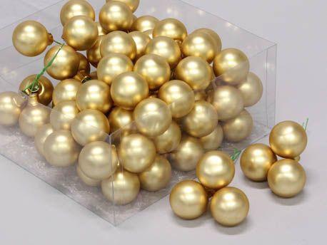 X198X4 Boîte de 72 boules en verre or mat D30mm