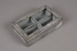 A001AV Boîte en bois gris 14 x 22cm H6cm