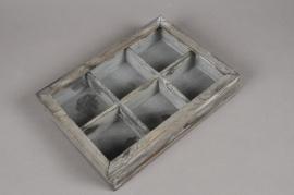 A003AV Boîte en bois gris 21.5 x 30cm H6cm