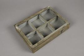 A002AV Boîte en bois gris vert 21.5 x 30cm H6cm