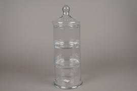 A010MA Bonbonnière en verre à étage D15cm H43cm