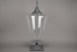 A561UO Bonbonnière en verre et métal D20cm H85cm