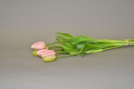 x531nn Botte de 7 tulipes artificielle rose H44cm