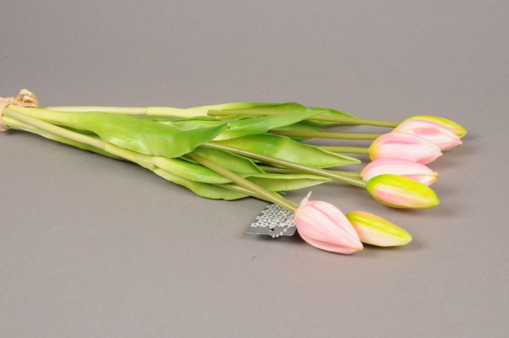 x531nn Botte de 7 tulipes artificielles rose H44cm