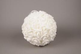 x001id Boule de roses artificielles blanches D28cm