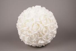 x002id Boule de roses artificielles blanches D38cm
