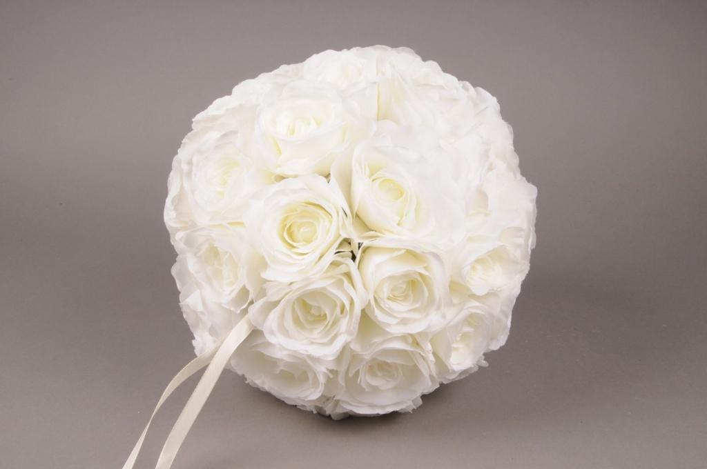 x987nn Boule de roses artificielles crème D28cm