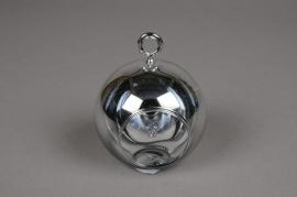 A007K9 Boule en verre argent à suspendre D8cm