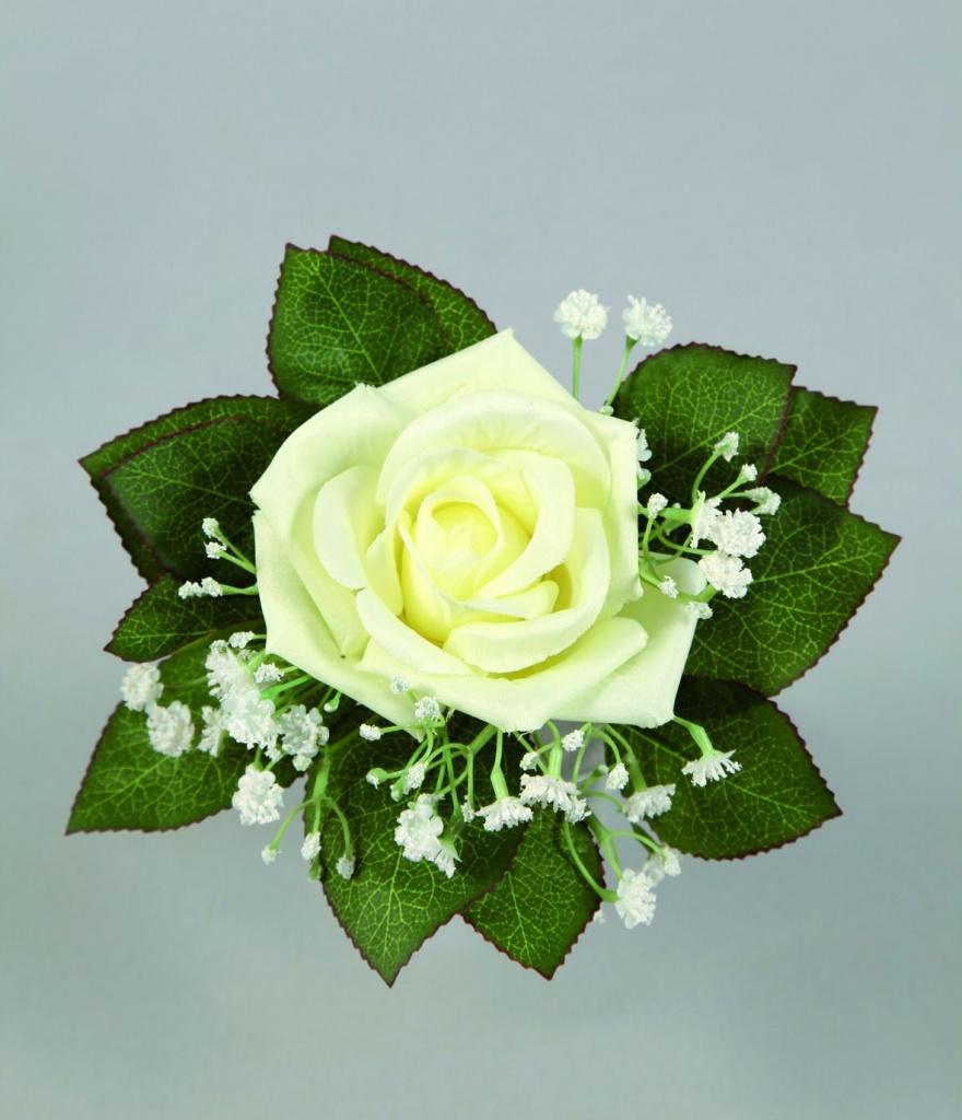 Bouquet d 39 une rose et de gypsophile blanc artificiel h21cm for Envoyer des roses