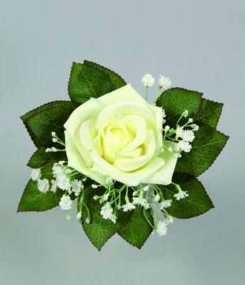 Bouquet Dune Rose Et De Gypsophile Blanc Artificiel H21cm