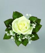 x230fp Bouquet d'une rose et de gypsophile blanc artificiel H21cm