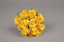 x525jp Bouquet de 13 roses artificielles jaune H26cm