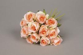 x537jp Bouquet de 13 roses artificielles pêche H26cm