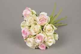 x535jp Bouquet de 13 roses artificielles rose et ivoire H26cm