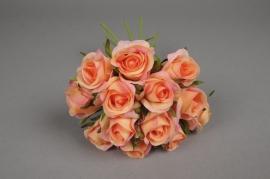 x527jp Bouquet de 13 roses artificielles saumon