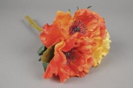 x268fp Bouquet de 3 pavots artificiel jaune et orange H33cm