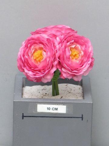 x686nn Bouquet de 3 renoncules artificiel fuchsia H14cm