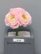x687nn Bouquet de 3 renoncules artificiel rose H14cm