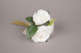 x266fp Bouquet de 3 roses artificielles blanc H30cm