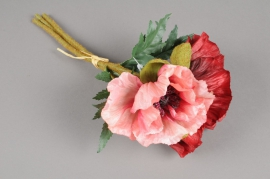 x267fp Bouquet de pavots artificiel rose et rouge H33cm