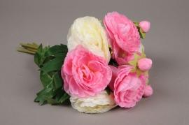 x236fp Bouquet de renoncules artificielles rose et crème H30cm