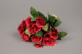 x138fd Bouquet de roses artificielles rouge H26cm
