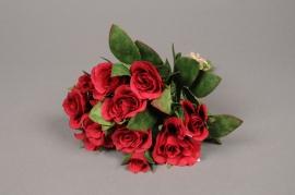 x138fd Bouquet de roses artificielles rouge H26cm
