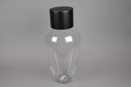 A007PW Bouteille en verre avec bouchon noir D25cm H50cm