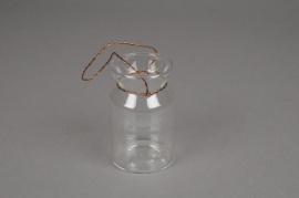 A856IH Bouteille en verre avec fils de cuivre D6 H9cm