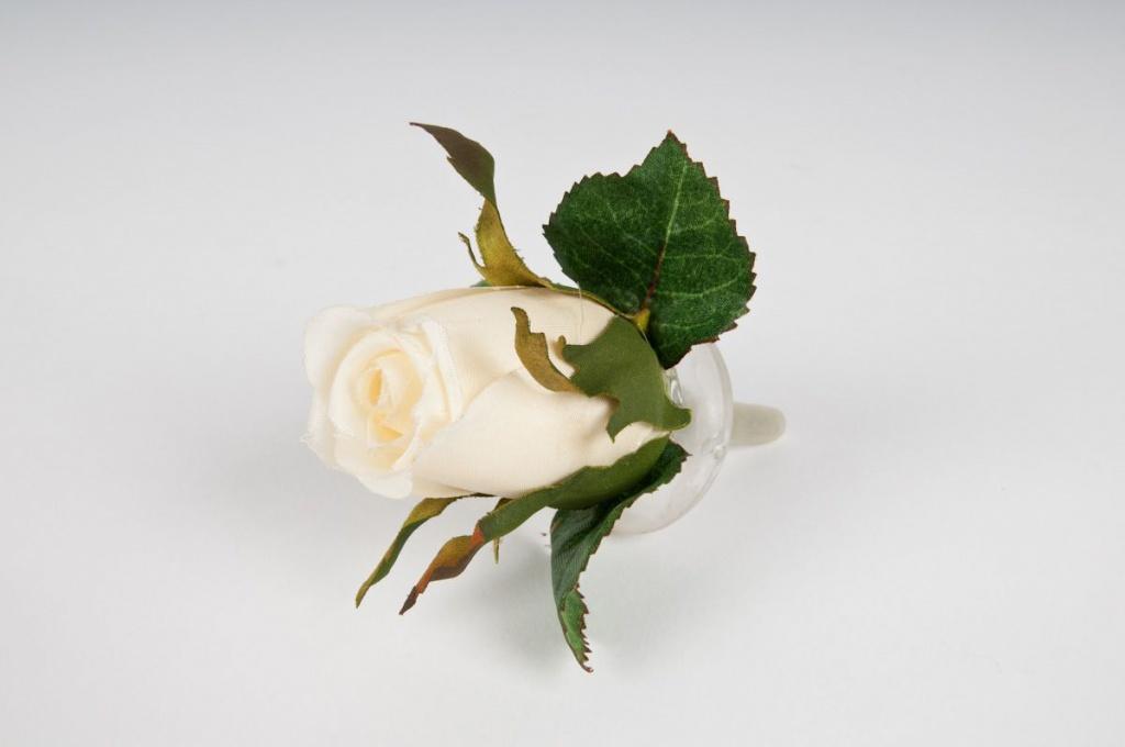 Bouton de rose flottant blanc crème D10cm