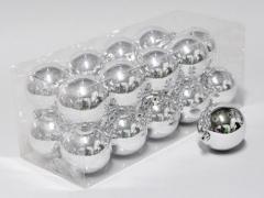 X027X4 Box of 20 plastic balls silver D8cm