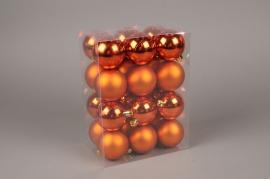 X149ZY Box of 24 plastic balls copper orange D6cm