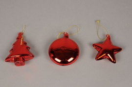 X009G1 Box of 3 red glass decoration D8cm