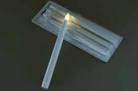 A003A1 Box of 4 white torch candles LED D2cm H27.5cm