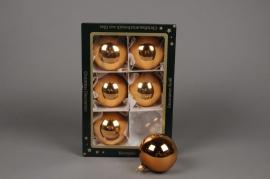X250T1 Box of 6 shiny pinky copper glass balls diameter 6cm