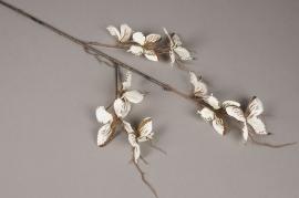 x983nn Branche artificielle avec des papillons crème H85cm