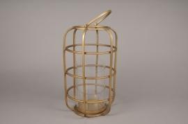 A018S0 Brass gold metal lantern D21.5cm H35cm