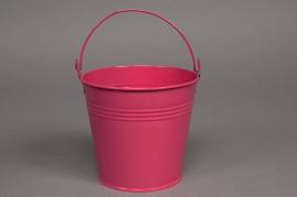 Bucket zinc fuchsia pink D8 H7cm
