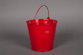 Bucket zinc red D13 H12cm