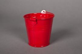 Bucket zinc red D8 H7cm