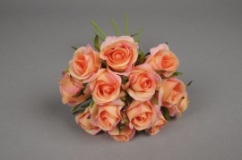 x527jp Bouquet de 13 roses artificielles saumon