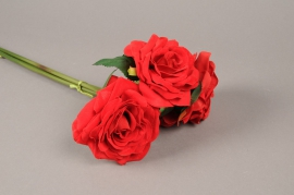 x465di Bundle of 3 artificial red roses H55cm