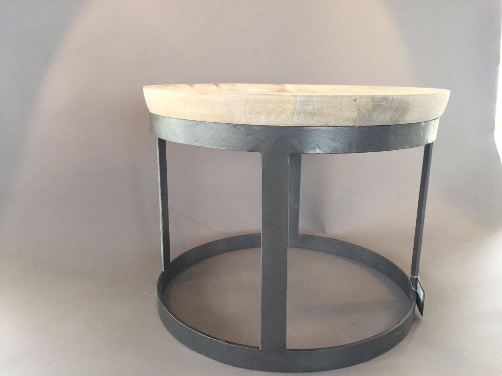 C102DQ Coffee table natural wood and grey steel D44cm H34cm
