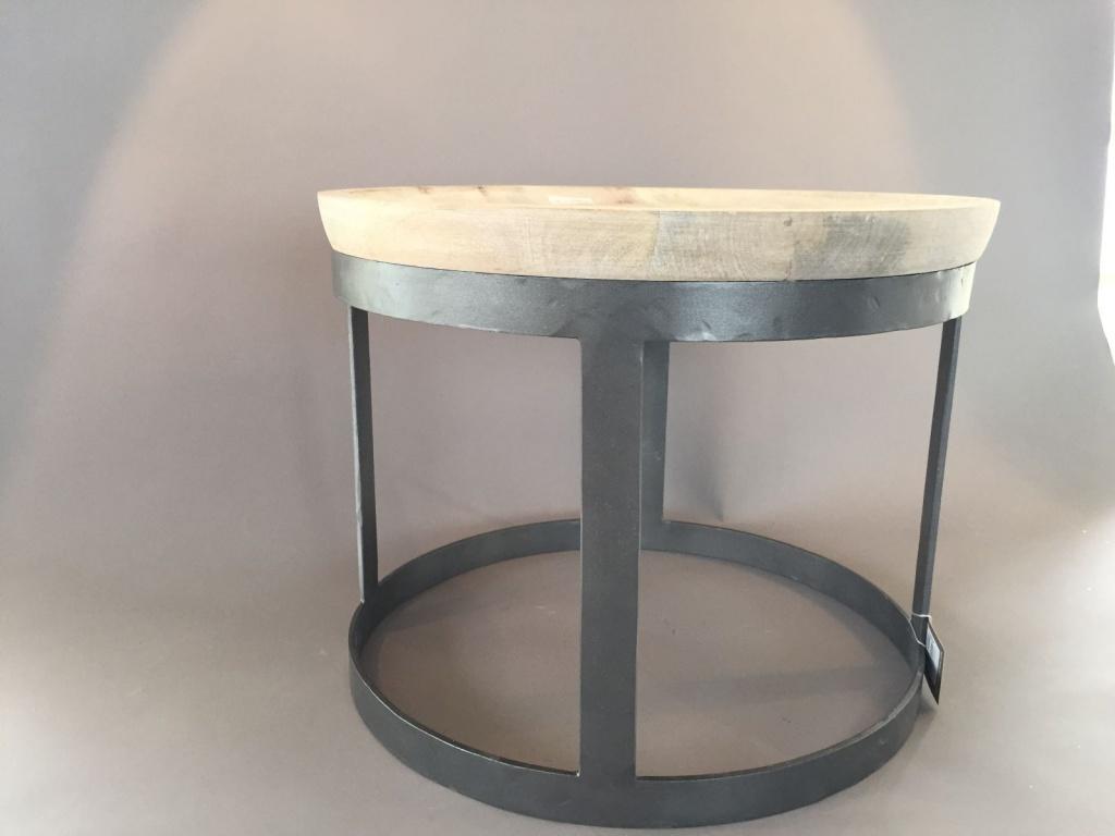 C102DQ Table basse bois et métal D44cm H34cm