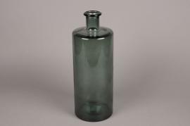 C125DQ Vase en verre bouteille vert D15cm H40cm