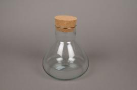 C147DQ Vase en verre avec bouchon en liège D17cm H21cm