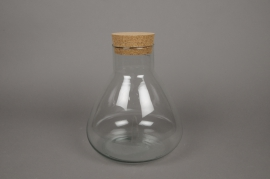C148DQ Glass vase bottle with plug in liege D22cm H27.5cm