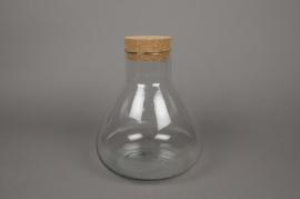 C148DQ Vase en verre avec bouchon en liège D22cm H27.5cm