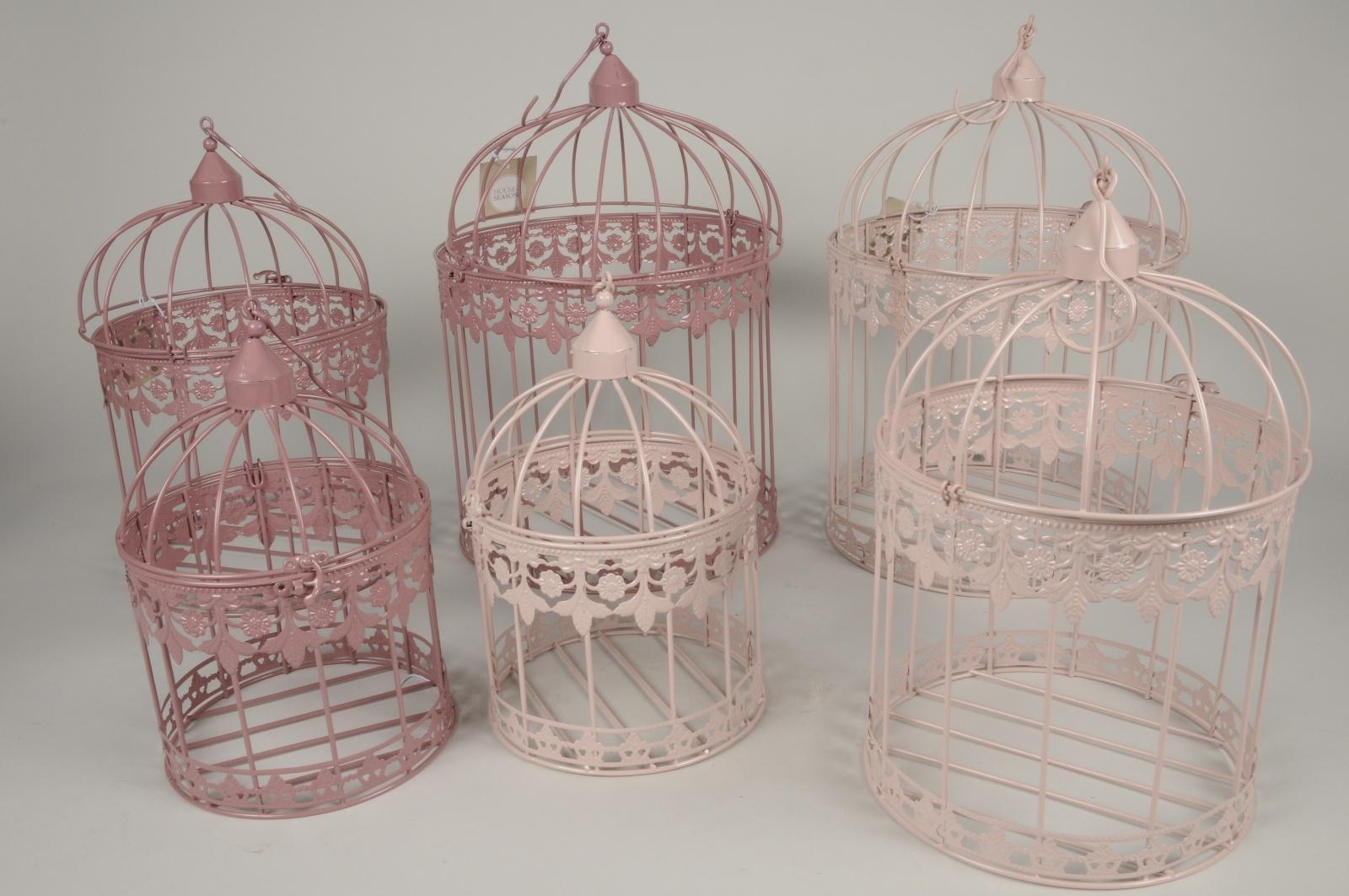 C156DQSet de 3 cages en métal assorti rose et mauve