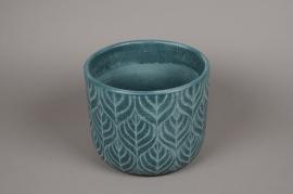 C249DQ Cache-pot en céramique vert D25cm H21cm